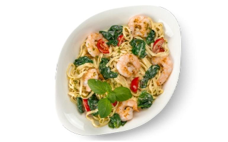 Паста с морепродуктами ГАМБЕРЕТТИ Е ШПИНАЧЧИ L ( средняя порция) рекомендовано с лингвини – Vapiano