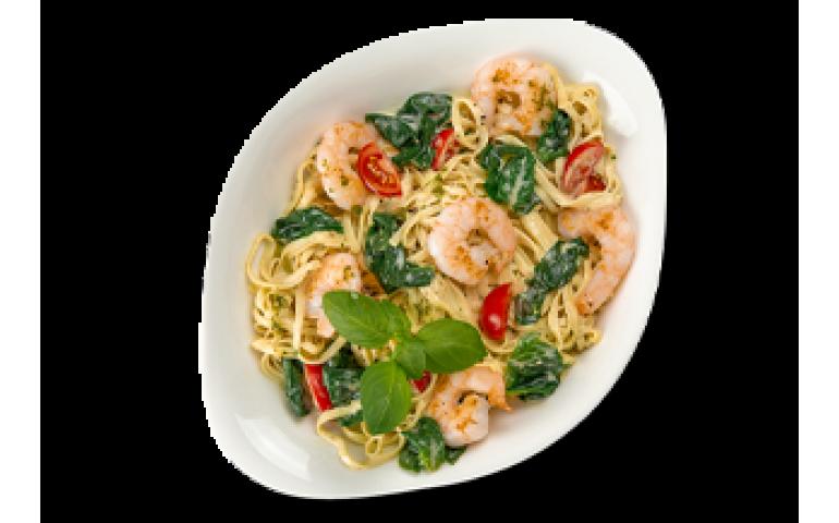 Паста з морепродуктами ГАМБЕРЕТТІ Е ШПИНАЧІ ХL (велика порція) рекомендовано з лінгвіні  – Vapiano
