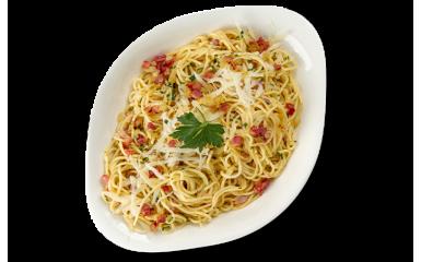 М`ясна паста КАРБОНАРА L ( cередня порція)  рекомендовано зі спагеті